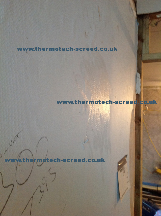 Condensation on internal walls prior to screeding due to poor build management allowing excess moisture to accumulate within the property and inhibit drying.