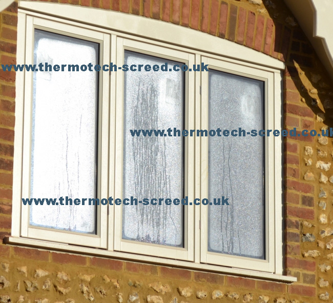 Heavy condensation on windows due to poor ventilation and drying practices in construction prior to screeding. This excess moisture will, in turn, inhibit the drying of the liquid floor screed.