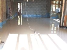 The finished floor screed in the new extension.